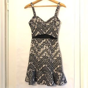 Fire Los Angeles Dress Floral Lace Ruffle Mesh